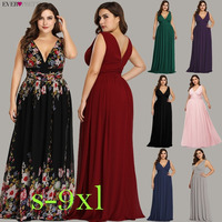 Ever Pretty Plus Size Evening Dresses Long Elegant V neck Chiffon A line Sleeveless Sexy Burgundy Party Dress robe soiree 2019