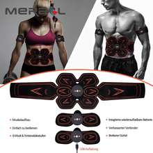 Rechargeable EMS Muscle Stimulator ABS Men Abdominal Muscle Trainer Smart Fitness Slimming Waist Belt Full Body Muscle Exerciser
