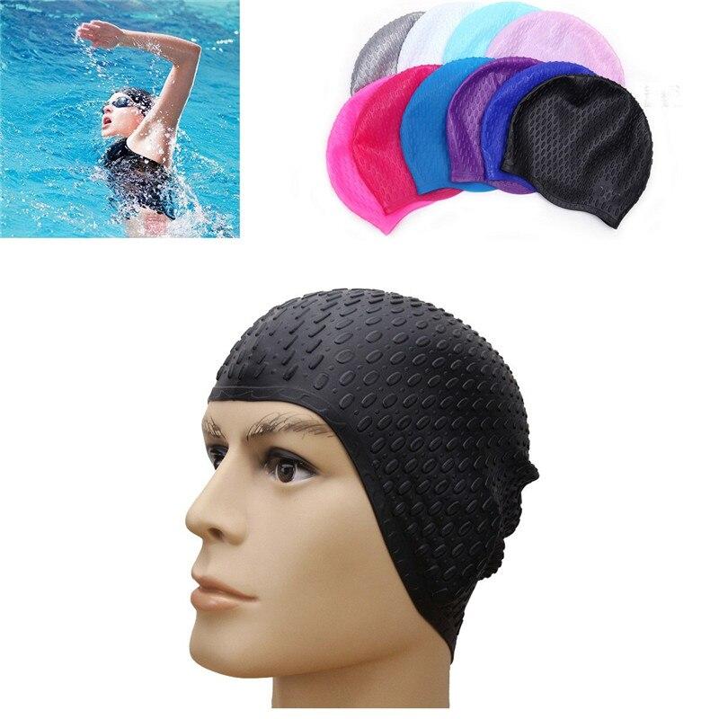 1 Pz Professionale Silicone Cappellini Formato Libero Alla Moda Bolla Di Uomini Donne Di Età Impermeabile Cappello Di Capelli Le Orecchie Di Protezione Eppure Non Volgare