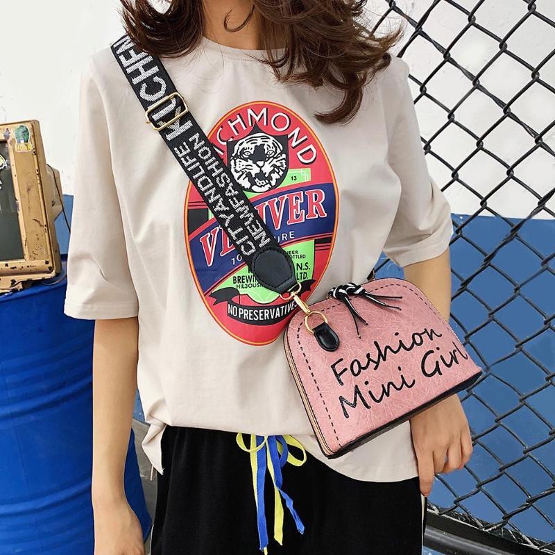 Women Wide Shoulder Strap Bag PU Leather Shell Messenger Bag Purse Daily