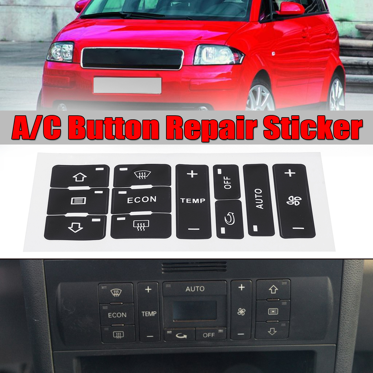For <font><b>Audi</b></font> A2/ A3 8L A/C Button Repair Kit Fix Faded Ugly Car Stickers Car Air Condition Control Switch Button Repair Stickers image