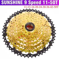 SUNSHINE SZ 9 Speed Cassette 11 50T 11 42T Gold Mountain Bike WideRatio MTB Bicycle 9S Freewheel Compatible with M430 M4000 M590