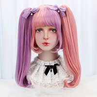 Short Bob Wig Bangs with 2 Claw Ponytail Hair Extension Purple Pink 12'' Anime Cosplay Lolita Wigs Synthetic Hair Ombre HP L 016