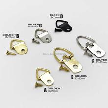 25 шт. золотой серебряный черный треугольник d-кольцо висячая картина маслом зеркальная картина рамка вешалка художественная работа фото настенный крючок с винтами
