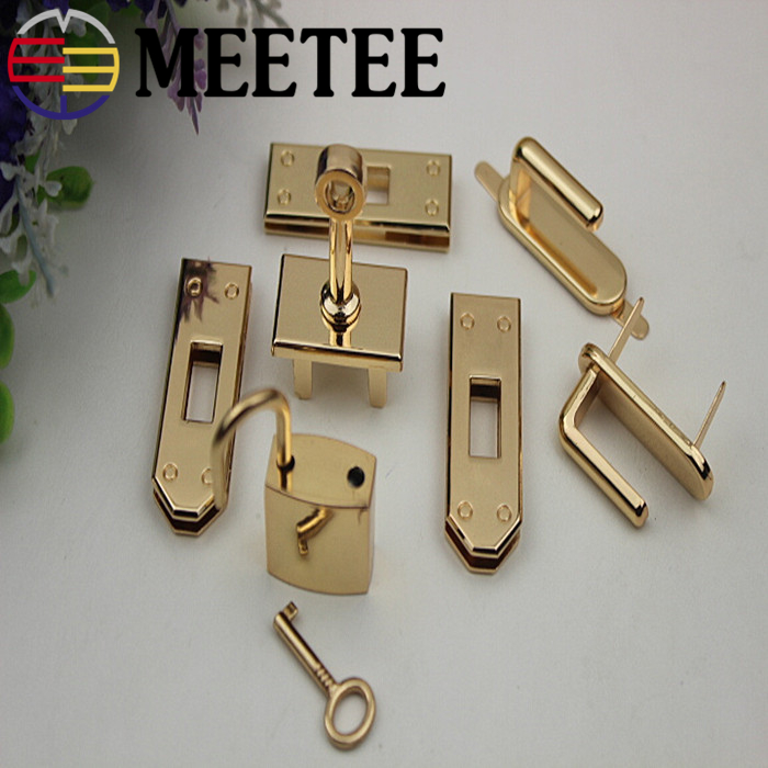 1Set(7pcs)Meetee Metal Bag Hardware Accessories 4 Colors Women's Handbag Lock Buckle DIY Shoes Bag Part Accessories Craft