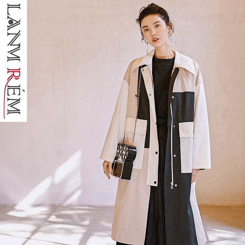 LANMREM 2019 New Fashion Spring Persoanlity Windbreaker For Women Contrast Color Long Overcoat Female's Large Size   Trench   YG612