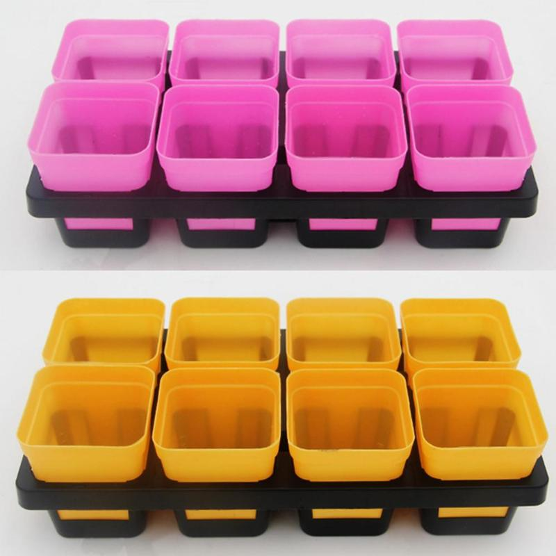 8 Cells Grid Plastic Flowerpot Plant Pot Seed Tray for Cactus Succulant Bean Sprouts Seedlings Small Flowers
