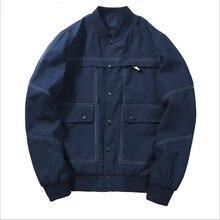 2019Autumn Bomber Jacket Zipper Pocket Stand Collar Patchwork Pilot Jackets Geometric Pattern Coat Men Windbreaker