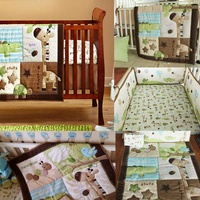 7pcs/set Baby Crib Bedding Set Cotton Toddler Baby Bed Linens Include Baby Cot Bumpers Nursery Quilt Fitted Cover Dust Ruffle