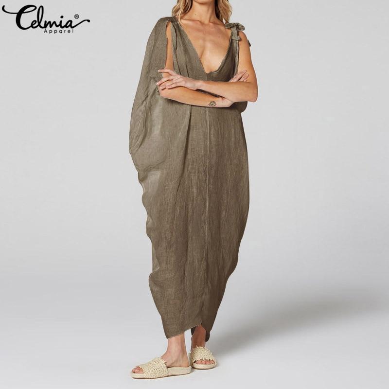 de696d0cb23 2019 Celmia женское винтажное длинное платье сексуальное с v-образным  вырезом повседневное без рукавов Асимметричные мешковатые плиссированные.