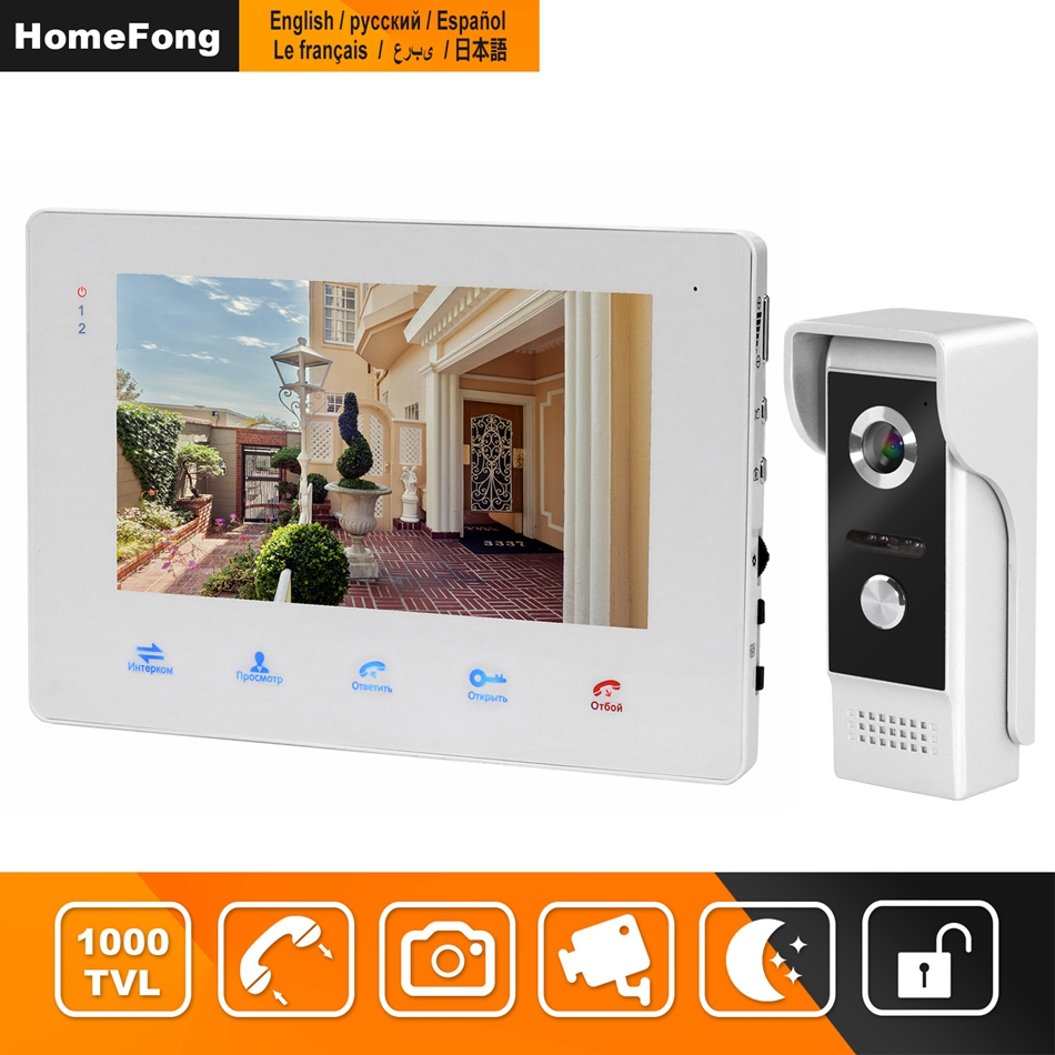 HomeFong Video Door Phone Home Intercom Wired 7 Inch Monitor Outdoor IR Night Vision Door Camera Support Motion Detection Record