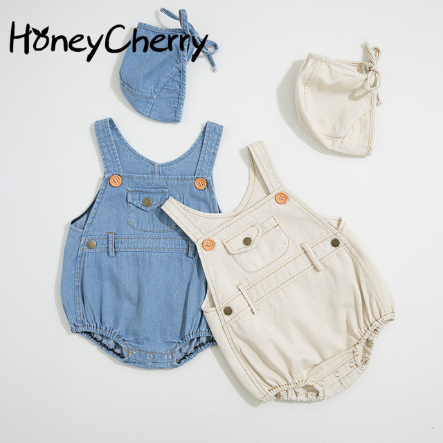 Letnie chłopcy i dziewczęta w 2020 r. Body niemowlęce jasne dżinsy ha yi trójkąt pełzające ubrania, aby wysłać czapki