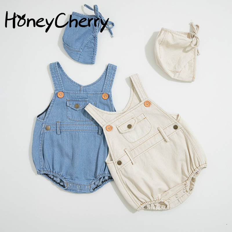 Summer Boys And Girls In 2020 Baby Bodysuits Light-colored Jeans Ha-yi Triangle Crawling Clothes To Send Hats