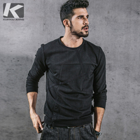 KUEGOU New Autumn Mens Casual Sweatshirts Patchwork Black Color Brand Clothing For Man's Slim Pullovers Male Wear Tracksuit 3710
