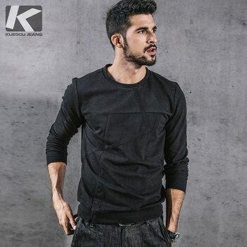 f33b55a8f KUEGOU nuevo otoño hombres Casual sudaderas Patchwork Color negro ropa de  marca para hombre Slim Pullovers ropa de hombre 3710
