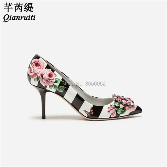 a597640f0dc2f Qianruiti Zapatos Mujer Tacon Luxury Wedding Shoes Rose Flower Black White  Blue Pink Leather Bling Gemstone Pumps Crystal Heels