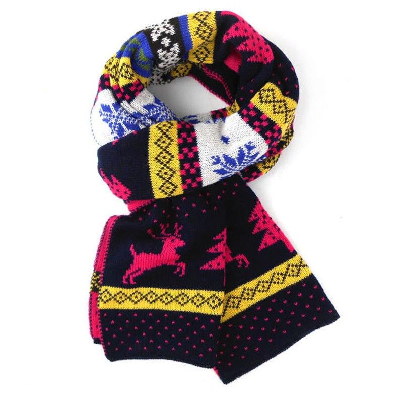 Children Boys Girls Knitted Scarf Fashion Print Thickened Winter Neck Warmer Shawl Baby Girls Scarves