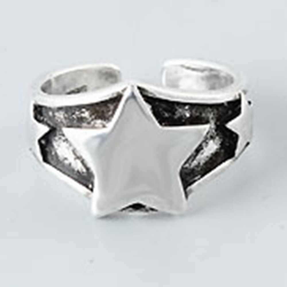 Ретро корейский стиль старый пятиконечная 925 пробы серебряные украшения Личность Звезда изысканный красивый Открытие Кольца
