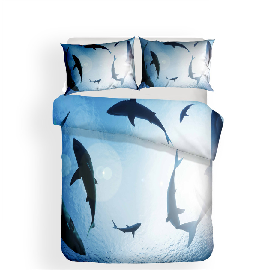Bedding Set 3D Printed Duvet Cover Bed Set Shark Home Textiles for Adults Lifelike Bedclothes with Pillowcase SY13 in Bedding Sets from Home Garden