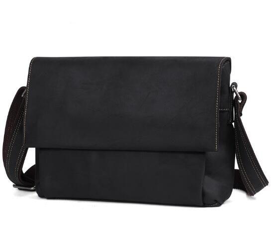 Genuine Crazy Horse Cowhide Leather Men Messenger For Laptop Male Vintage Crossbody Vintage Brown Dark Briefcase Bags