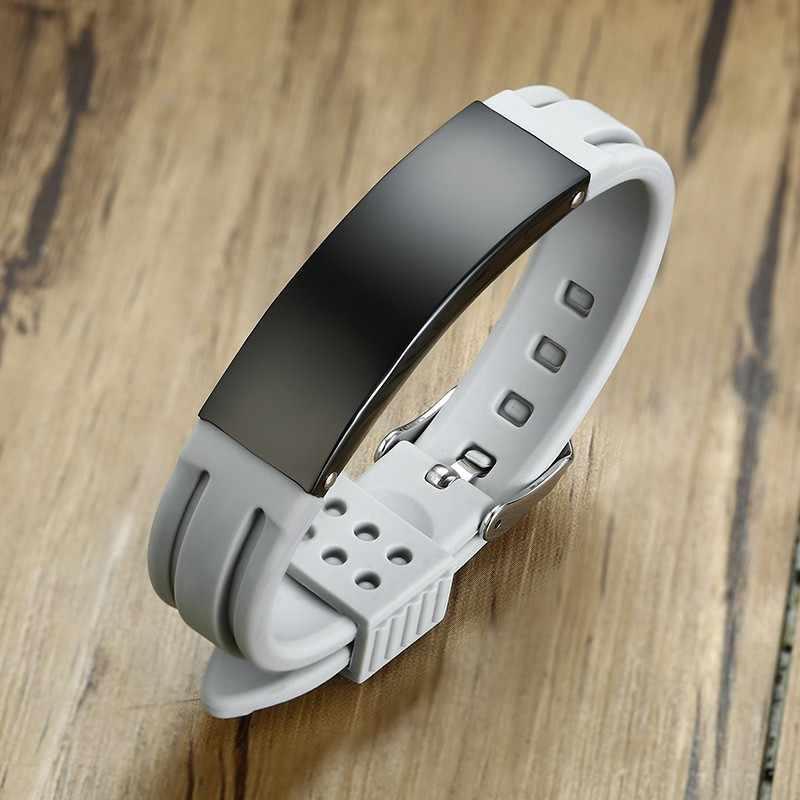 Męska silikonowa bransoletka klamra przesuwna gumowy zegarek marki bransoletka dla mężczyzn dzieci regulowana długość