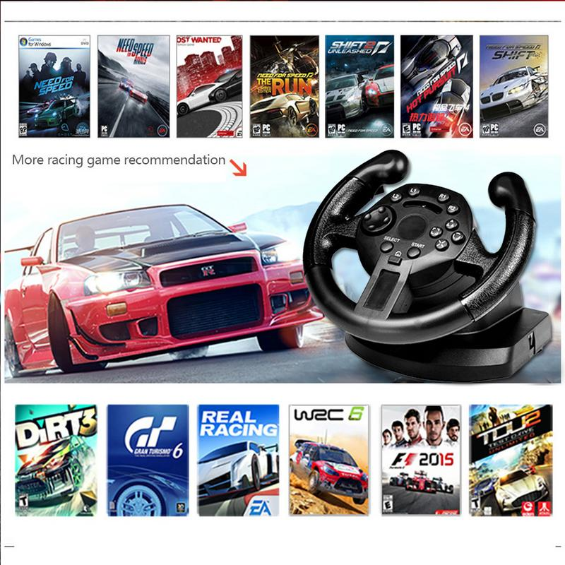 Racing Game Steering Wheel Pedal Compatible For PS3/PC (D-INPUT/X-INPUT) Simulated Driving Controller Vibration image