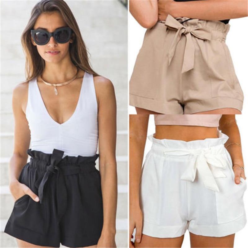 Hot Women High Waisted Cotton Solid Bow Bandage Shorts Loose Flare Shorts Casual Summer Shorts  Ruffle Mini Shorts 4 Colors