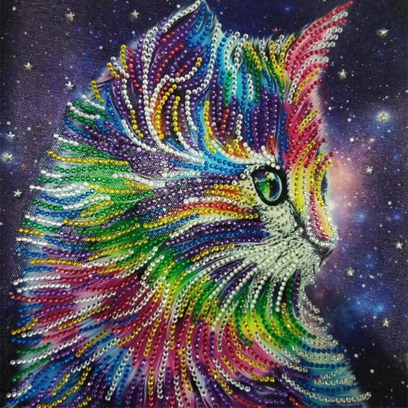 5D DIY особой формы алмазов картина многоцветный Кот Вышивка крестиком Алмазная мозаика комплект украшения дома