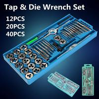 12/20 pcs M6 M12/M3 M12 Metric Tap with 5pcs Die and Adjustable Tap Wrench Nut Bolt Alloy Metal Hand Tools|Tap & Die| |  -