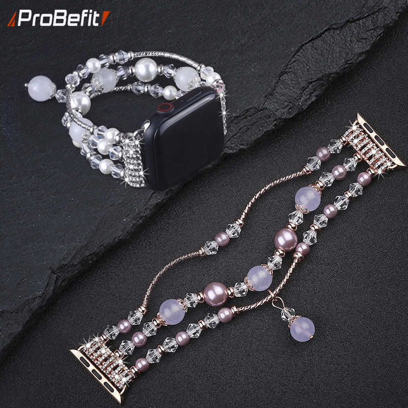 Handmade Elastic Stretch Crystal Pearl Bracelet BAND For apple watch 5 4 3 2 1 40MM 44MM Bling strap for Iwatch 4 38mm 42mm