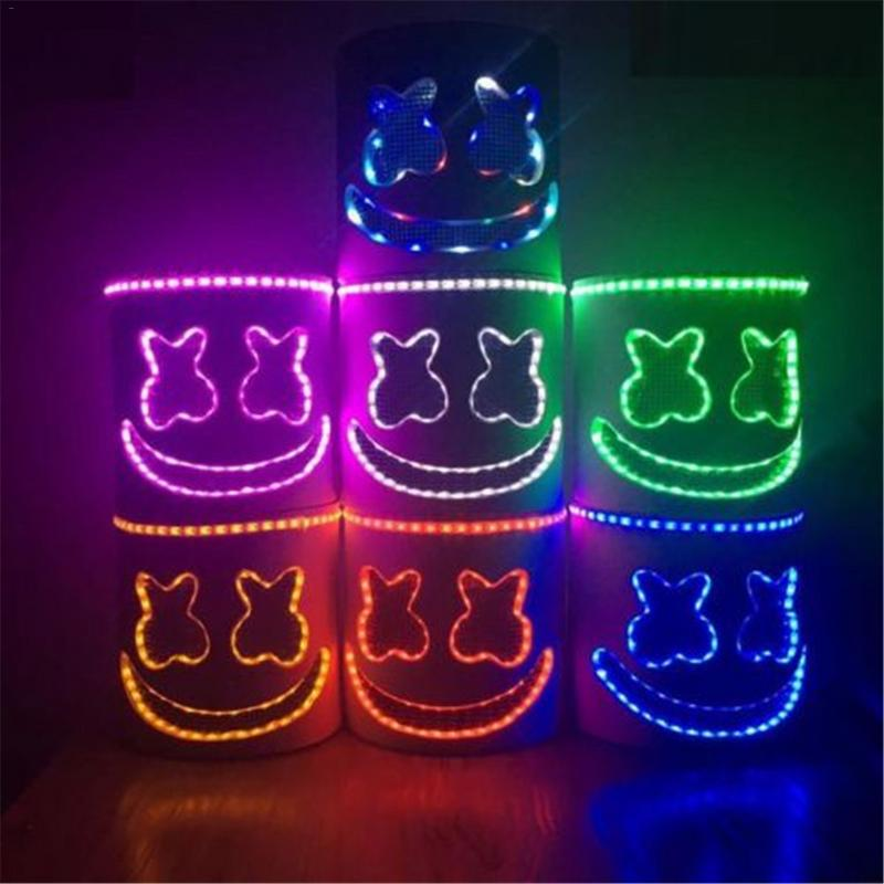 Marshmello Masque led Clignotant DJ Musique Festival Masques Party Props Halloween Cosplay Coiffures Stade Performance Casque Outil