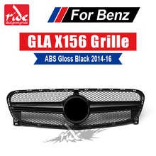 X156 Front Racing Grille ABS Glossy Black without central logo For Mercedes Benz GLA X156 GLA180 GLA200 GLA250 GLA45 AMG 2014-16 for mercedes benz gla x156 front grille silver abs gla45 amg gla180 gla200 gla250 without central logo front racing grille 14 16