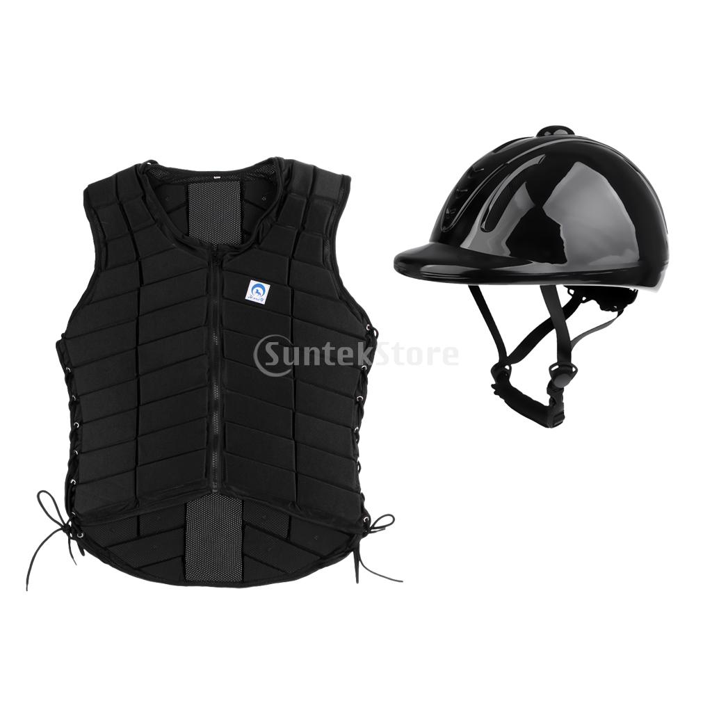 Professional Adult Women Safety EVA Padded Horse Riding Equestrian Vest Body Protector + Protective Gear Helmet Cap Size Medium men women professional equestrian horse riding helmet breathable durable safety half cover horse rider helmets