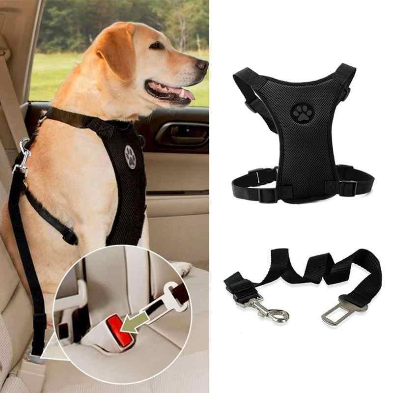 Новый Обувь с дышащей сеткой поводок для собаки с регулируемыми ремнями животное жгут с автомобильный ремень безопасности поводки для собак