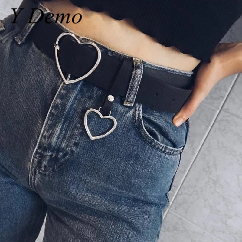 Streetwear Heart Shaped Buckle Adjustable   Belt   Women Lovely Double Love Pu Leather   Belts