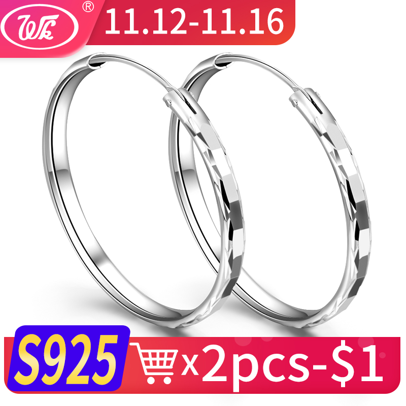 WK Anti Allergy 925 Sterling Silver Hoops Thick Round Earrings For Women Creole 35MM Circle Earings Oorbellen Fine Jewelry ED007 creole