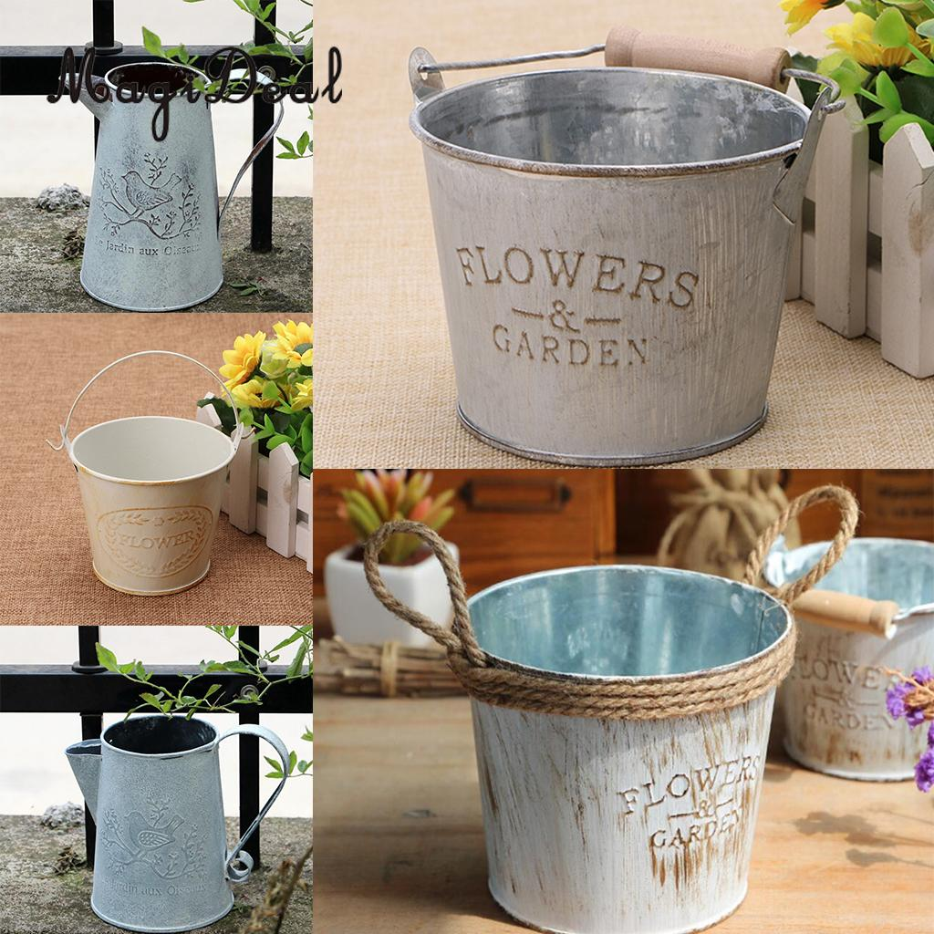 MagiDeal French Pastoral Galvanized Metal Tin Buckets Plants Flower Vases Water Planter Barrel With Handle
