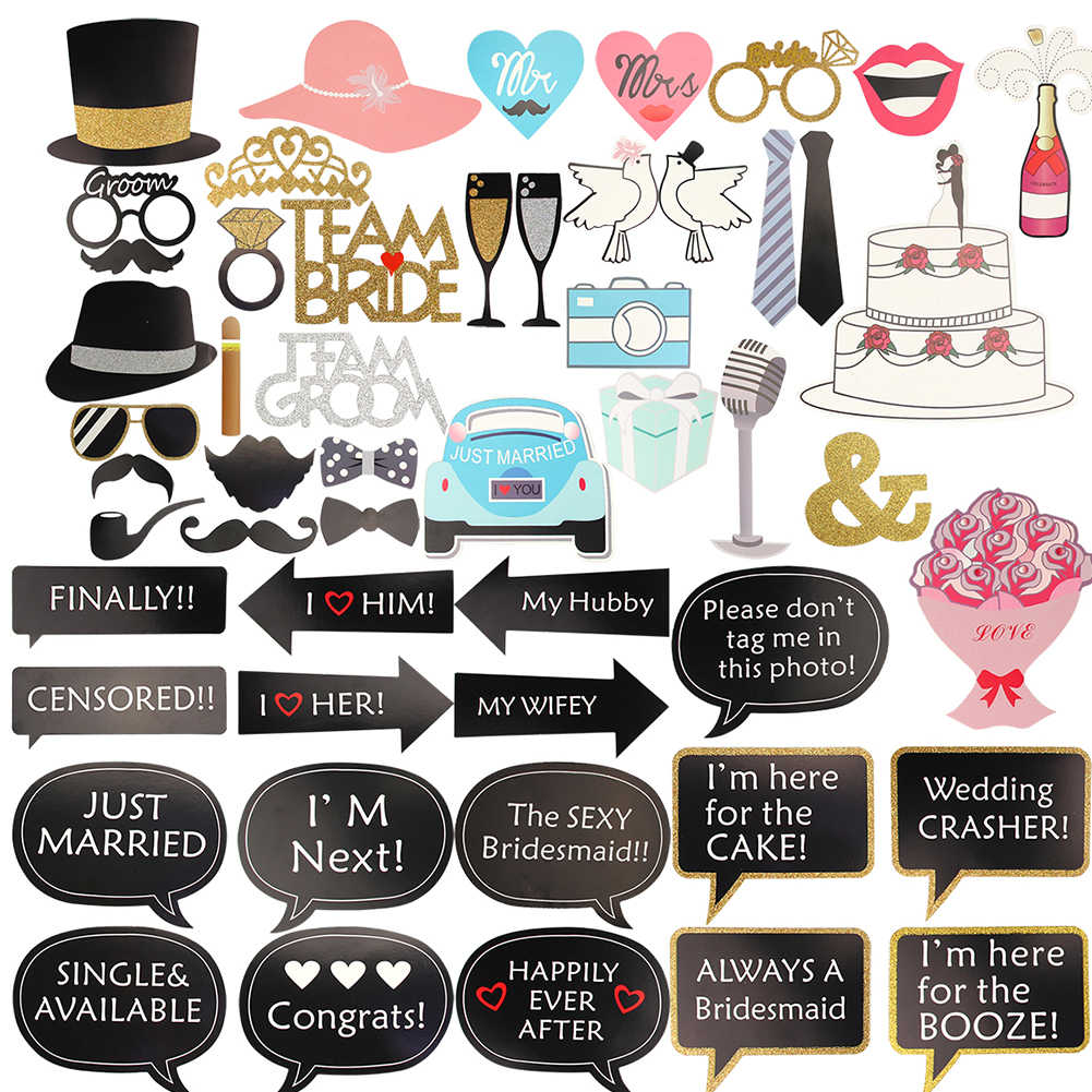 Just Married Photo Booth Props Party Favor Kit Mustache Shape Selfie For Birthday