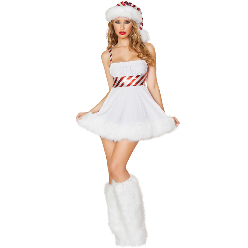 Sexy Ladies Christmas Snow Women Snowmen Outfit White Miss Santa Claus Costume