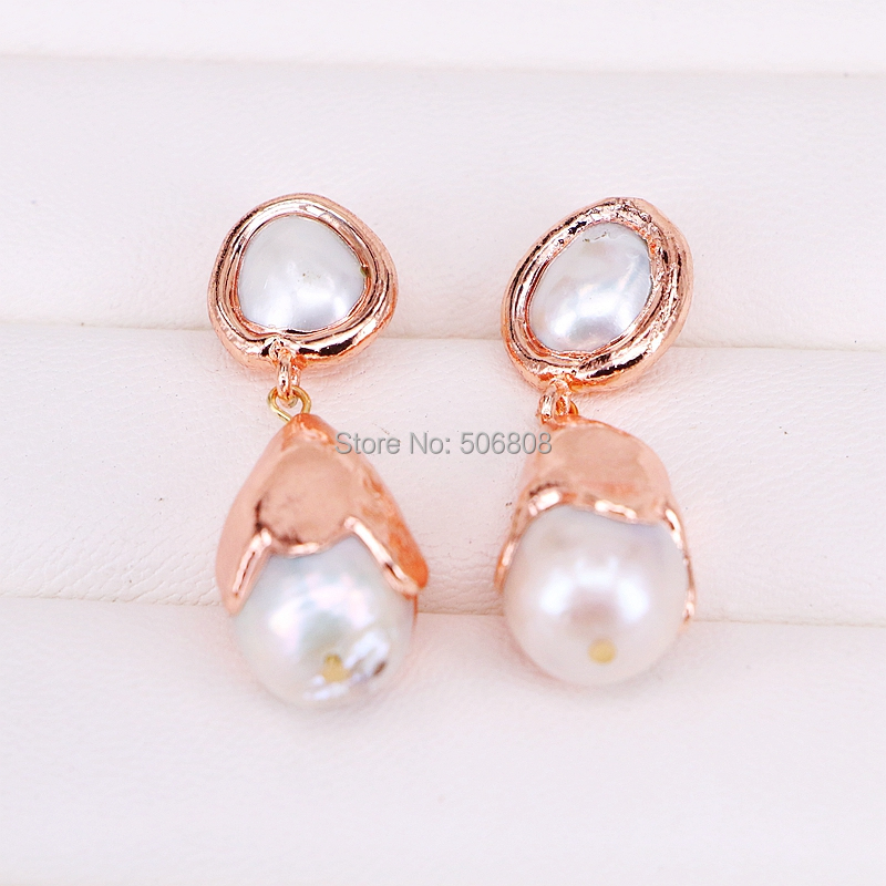 3Pairs Natural Freshwater Pearls Drop Earrings Rose Gold Electroplated Women Earrings Jewelry