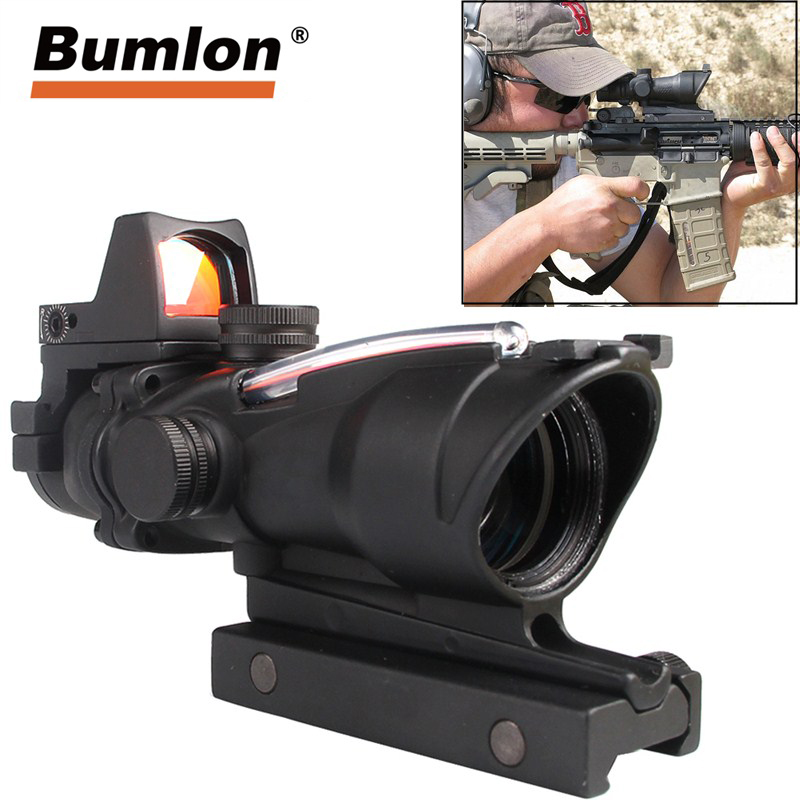 Fast Shipping Service Real Green Red Fiber ACOG 4X32 With RMR Red Dot With Markings For Shooting Tactical Hunting Rifle Scope