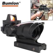 ACOG mira para Rifle de caza táctico, fibra roja Real verde, 4x32 con punto rojo RMR con marcas para disparar
