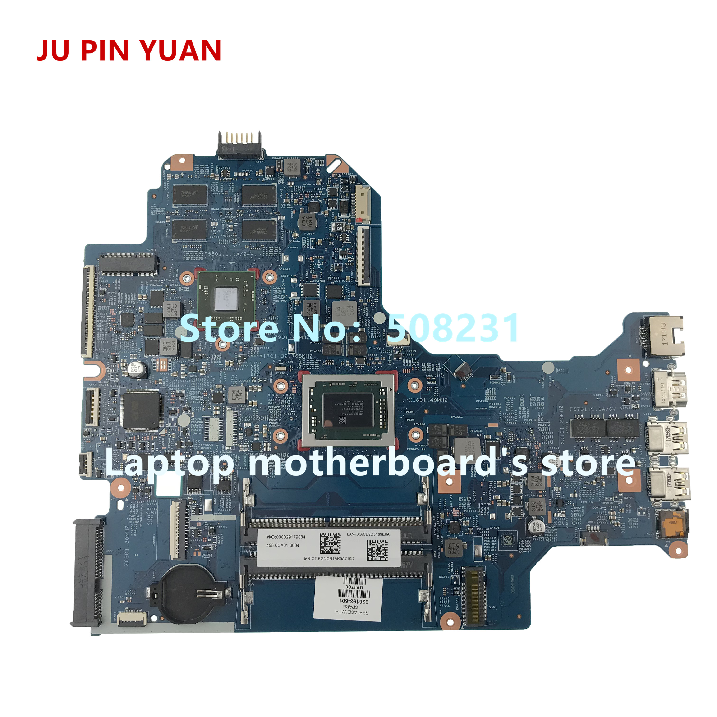 JU PIN YUAN 926193-601 926193-501 448.0CA02.0011 mainboard For HP LAPTOP 17-AK 17Z-AK Laptop Motherboard 530 2GB A10-9620PJU PIN YUAN 926193-601 926193-501 448.0CA02.0011 mainboard For HP LAPTOP 17-AK 17Z-AK Laptop Motherboard 530 2GB A10-9620P