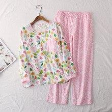 Pijama de algodón con estampado de dibujos animados para Mujer, pantalón de manga larga, cuello redondo, para primavera