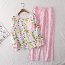 봄 레이디의 코 튼 셔틀 짠 만화 긴 소매 바지 잠 옷 라운드 목 pijama mujer 인쇄 만화 잠 옷