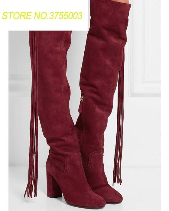 Женские ботинки в ковбойском стиле с круглым носком на не сужающемся книзу массивном каблуке женские сапоги до колена с длинной бахромой са