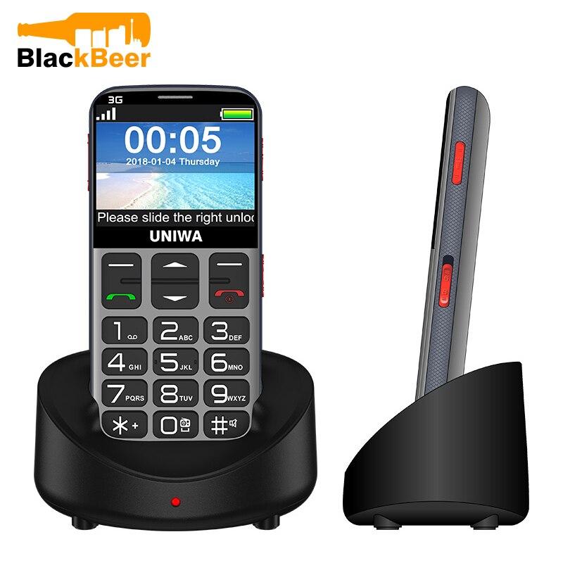 Фото. UNIWA V808G 2,31 дюймовый мобильный телефон 3g WCAMA мобильный телефон для пожилых людей SOS 1400 мА