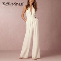 TWOTWINSTYLE Sexy Halter Jumpsuits For Women Sleeveless Off Shoulder V Neck High Waist Wide Leg Pants Female 2019 Fashion Tide