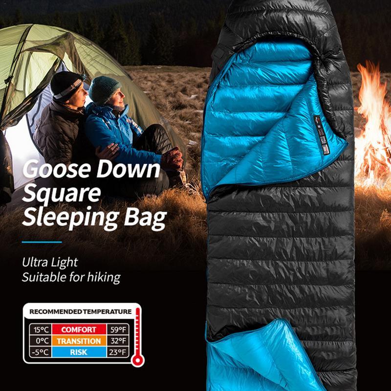 Single Car Sleeping Bag Goose Down Thickened Camping Hiking Waterproof Activities Winter Portable Warm Kid Sleeping Storage Bags