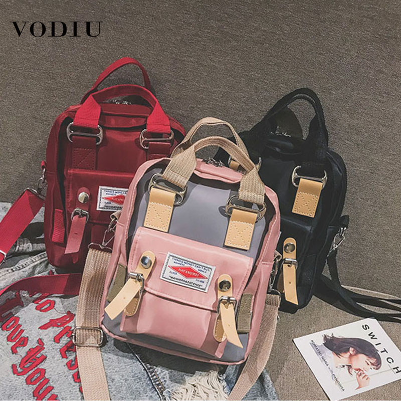 2018 New Women's Slanting Tide Korean Version Of The Wild Bag Retro Student Net Red Small Black Bag Oxford Cloth Handbag